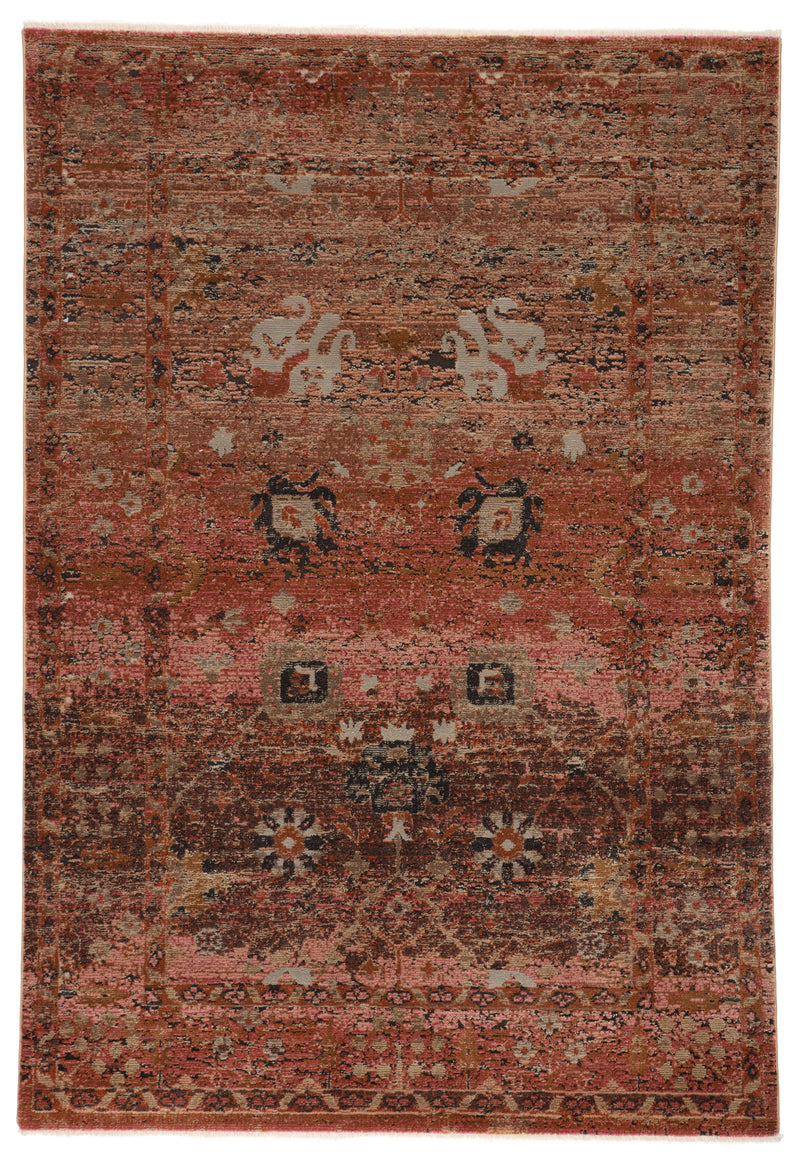 "Caruso Oriental Pink/Rust Area Rug (9' 6"" x 12' 7"")"