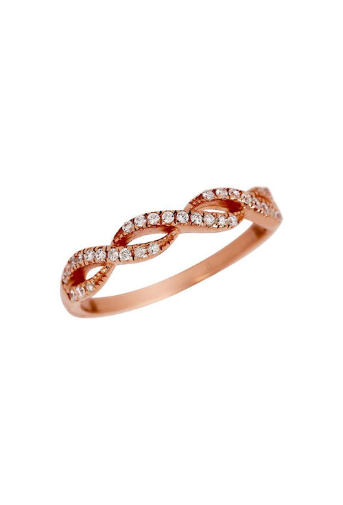 Little Sparkles Stackable Rose Gold Figure 8 Diamond Ring