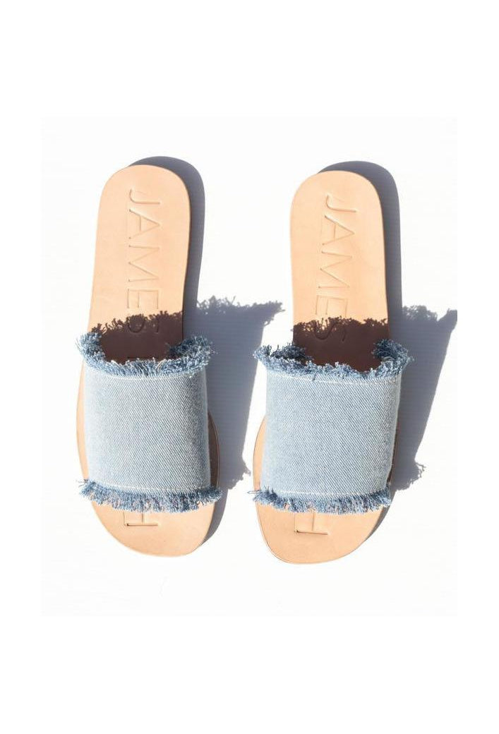 James Smith Blue Denim Fray Slides