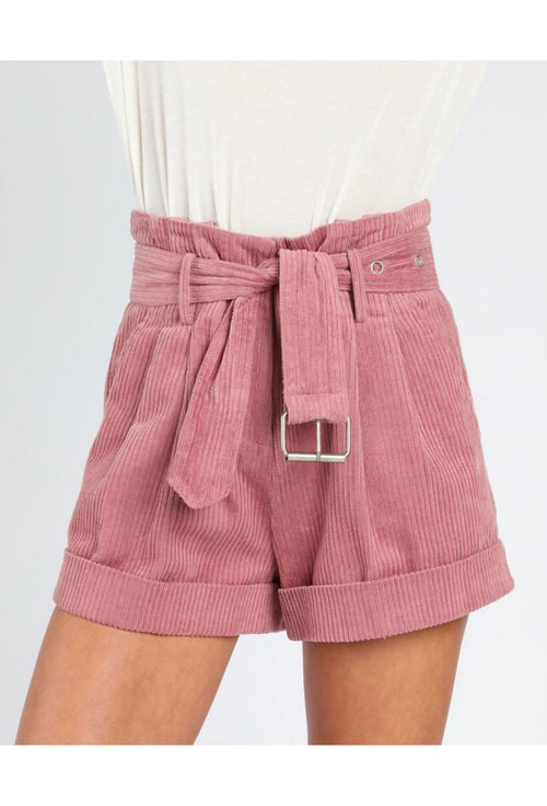 Honey Punch Corduroy Paper Bag Shorts