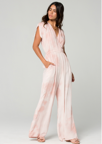 Striped Wrap Jumpsuit w/ Ruffle Detail