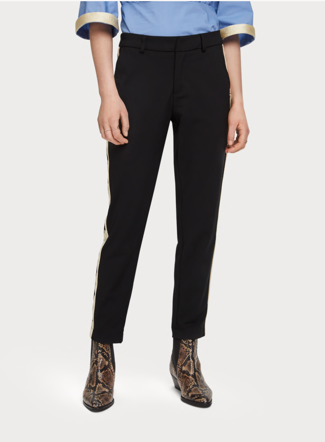 (New) Tailored Pants with Embroidered Side Panel
