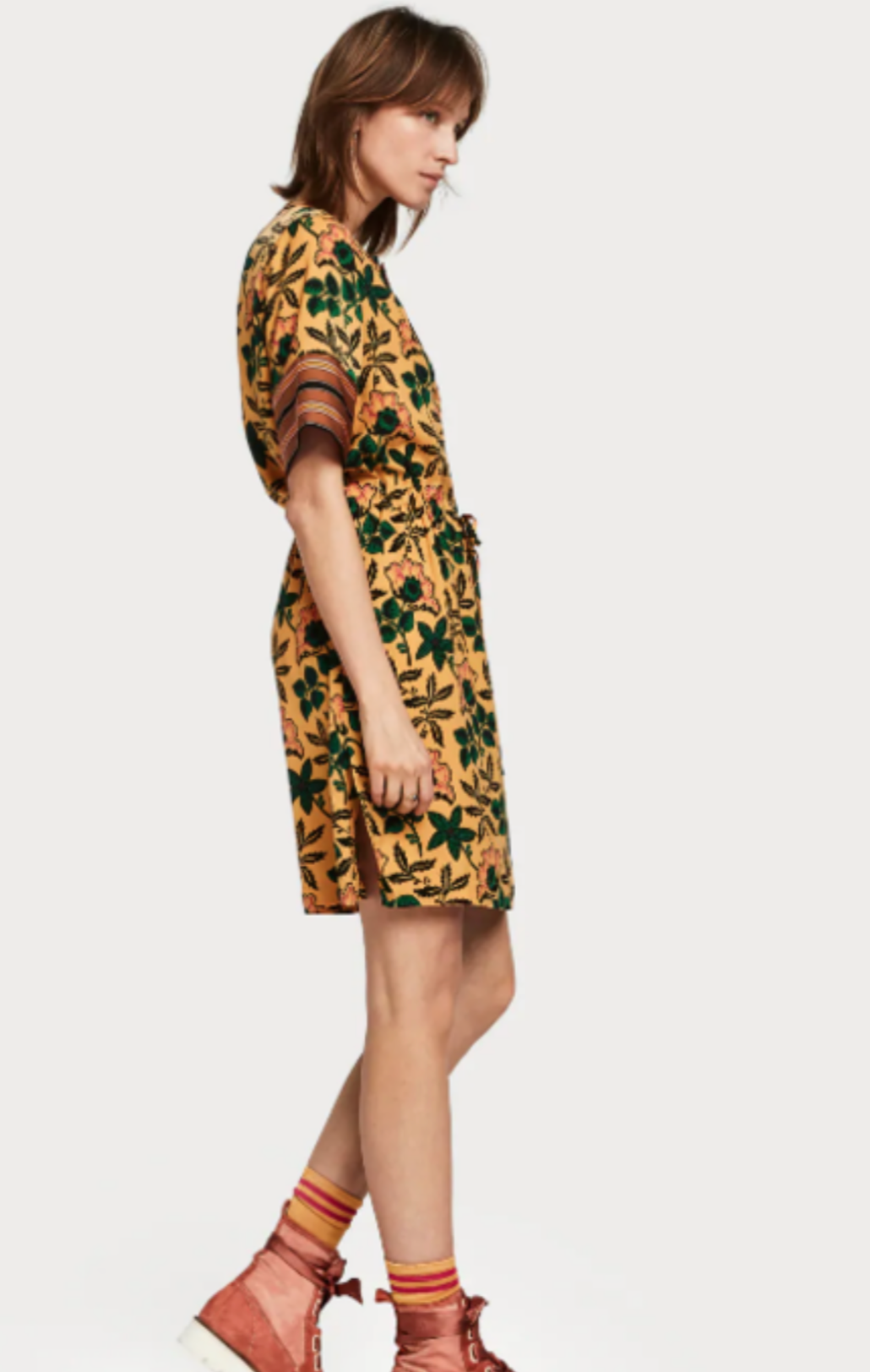 Mixed Print Dress with Drawstring Waist
