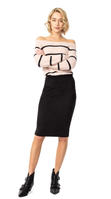 (New) Charlize Vegan Suede Pencil Skirt
