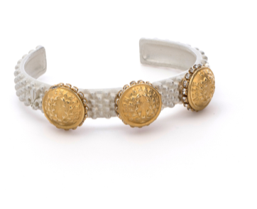 (New) Matte Silver Ferou Cuff with 14K Gold Medallions