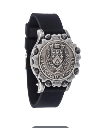 (New) Black Silicone bracelet w/ S. OX Abeille Medallion