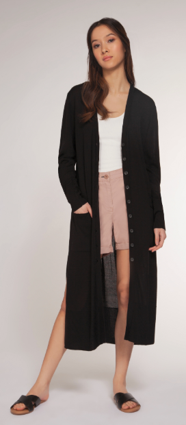 (New) L/S Black Full Length Cardi