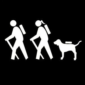 Couple Hiking Dog Car Decal