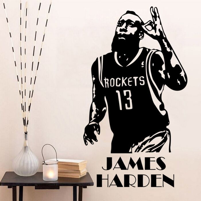 NBA  Basketball Player Star  James Harden  Wall Stickers  Decal Home Decor Fan Gifts