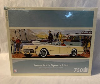 "The sporty little Chevy that changed the world.  The the Captain of your car at the docks!  1953 Convertible 750 Piece Jigsaw Puzzle Finished Puzzle Size: 36""x12"" Linen Style Finish to reduce glare Made in USA Recommended Age: 8+ Years"
