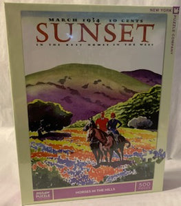 "From the cover of Sunset Magazine, artist Philip Little paints a colorful scene of two well dressed riders in a brightly colored flower-filled meadow in the hills.  Sunset Cover from March 1934 500 Piece Jigsaw Puzzle Finished Puzzle Size: 18""x24"" Linen Style Finish to reduce glare Made in USA Recommended Age: 8+ Years"