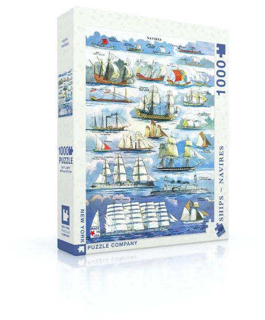 "This wonderful French illustration depicts 23 different types of Navires (Ships) through out history.  Starting with Galere Egyptienne and ending with Cinq Mats France 1890 & Goelette d'Islande.   1000 Piece Jigsaw Puzzle Finished Puzzle Size: 19.25""x26.625"" Linen Style Finish to reduce glare Made in USA Recommended Age: 7+ Years"