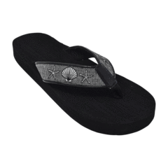 Silver Shells Style is a black fabric topped with a black and metallic silver ribbon that is embroidered with starfish and scallop that are outlined in black.  The footbed is black.