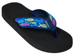 Fish Style is a navy blue fabric topped with a royal blue ribbon that is embroidered with hot pink, lime green and turquoise fish and aqua bubbles. The footbed is black.