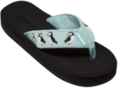 Puffins Style is a aqua blue fabric topped with the same aqua ribbon with embroidered cute navy, white and orange puffins!  The footbed is black.