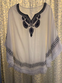 White with Navy Embroidery Poncho