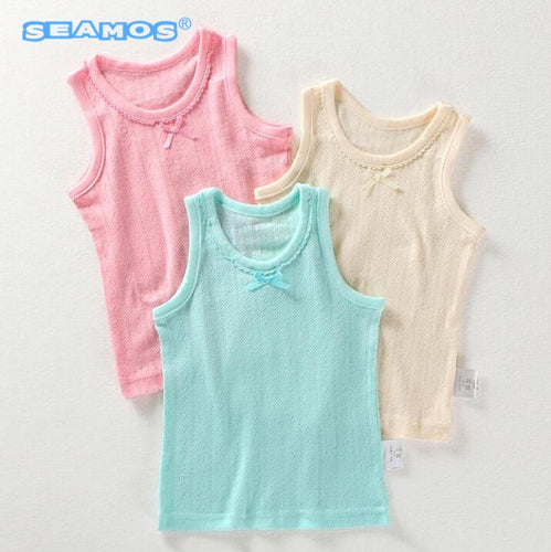 3pcs Lot Girls summer sleeveless T-shirts cotton mesh