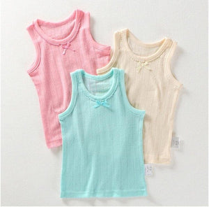 Girls Summer Sleeveless T-shirts cotton mesh 3 pc lot