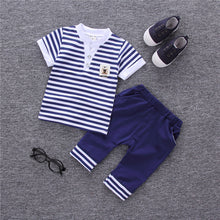 Load image into Gallery viewer, Boys Summer Striped Tops+ Pants Sport Suit 2 pcs