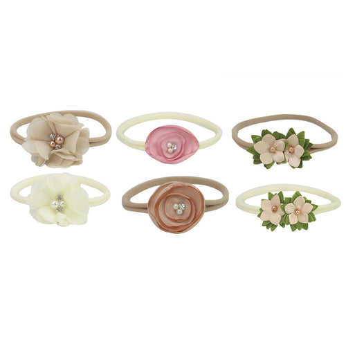 6pcs/set Skinny Soft Nylon Headband Satin Chiffon Flower
