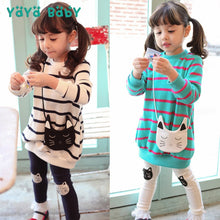 Load image into Gallery viewer, Cotton Striped Set Long Sleeve Shirt + Leggings 2pcs