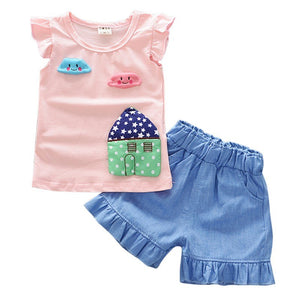 Summer Fly Sleeves Print  T-shirt + Denim Shorts 2 pcs