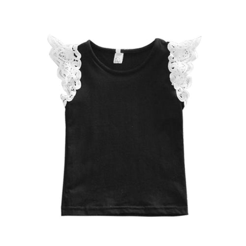 Lovely Baby Girls Lace T-shirt Children's Clothing Tops Sleeveless Vest Clothes 0-3Y
