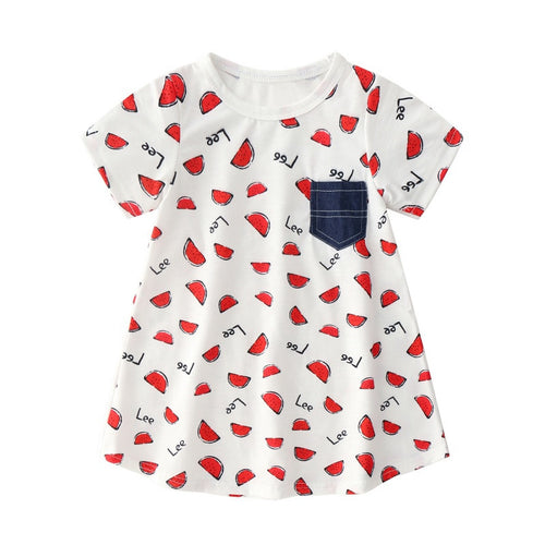 Summer New Children Girl's Dress Cute Baby Clothing Girls Clothes Children Printed Watermelon Short-Sleeved Dress