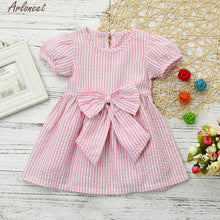 Load image into Gallery viewer, Girls Stripe Bow Princess Dress