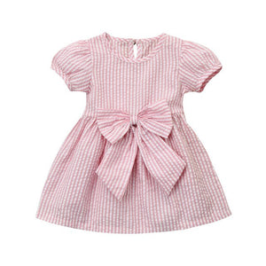 Girls Stripe Bow Princess Dress
