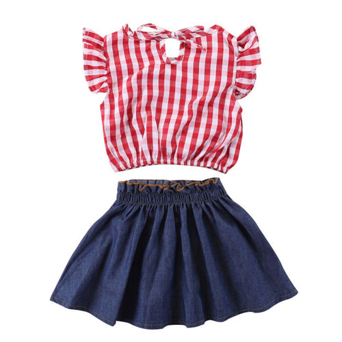 Summer Red Plaid Bow Tie Top +Denim Skirt 2 pcs
