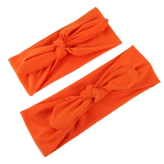 Mom Baby Elastic Tie Bow Cotton Headband 2 pcs