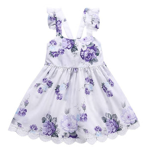 Summer Lovely Flower Print Girl Dress Toddler Girls Princess Dresses Children's Clothing For Girls