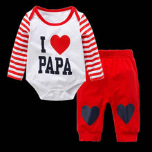 Load image into Gallery viewer, Papa Pattern Red Blue Top + Pants 2 pcs