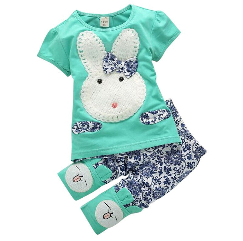 Cute Rabbit Cartoon Girls Short Sleeve Tops+Pants