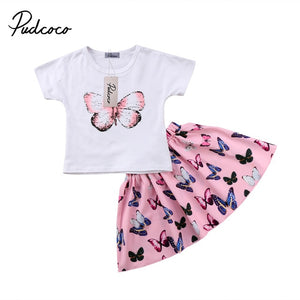 Butterfly Short Sleeve T-shirt + Skirt 2 pcs