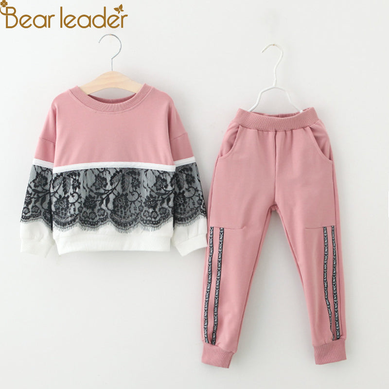 Cartoon Print Sweatshirt +Pants Set