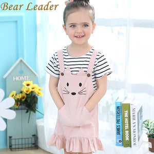 Girls Striped T-shirt+Condole belt Cat Pattern Skirt 2Pcs