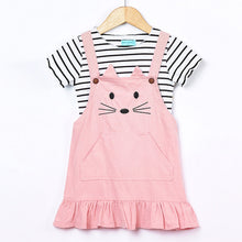 Load image into Gallery viewer, Girls Striped T-shirt+Condole belt Cat Pattern Skirt 2Pcs