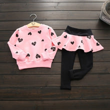 Load image into Gallery viewer, Heart Printed Long Sleeve Top + Skirted Leggings 2 pcs