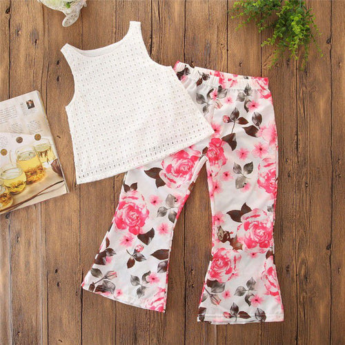 Summer White Plaid Sleeveless Top + Floral Trumpet Trousers 2 pcs