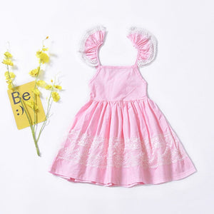 Bear Leader Girls Dresses Cute Flying Sleeve Christmas Dress Girl Patchwork Lace Girls Ball Gown Dress 1-5T Children's Clothing
