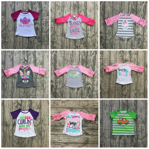 new arrival happy Easter baby girls print bunny pink egg cotton boutique top T-shirt raglan clothing floral ruffles kids wear