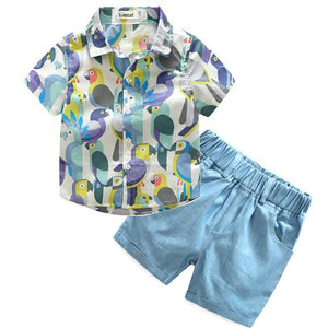 Summer Short Sleeved Parrot T-Shirt + Blue Shorts 2 pcs