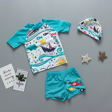 Load image into Gallery viewer, Boys Two-piece Swim Suits with Cap Cartoon Print
