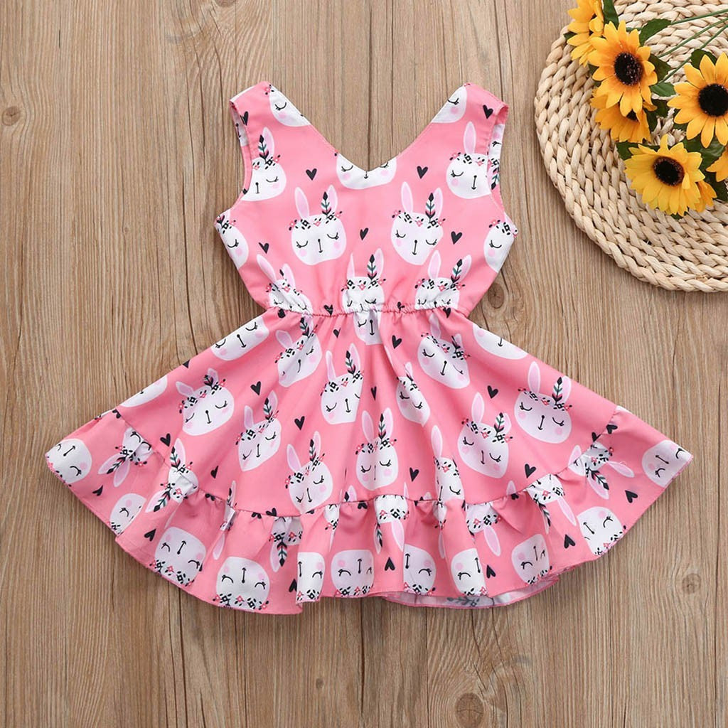 Easter  Girls Sleeveless Rabbit Print Princess Vest Dress