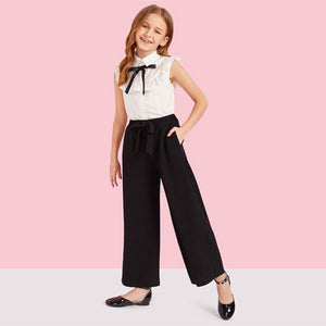 Ruffle Trim Blouse And Knotted Wide Leg Pants Set