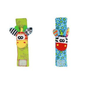 2/4 Pcs Animal Baby Wrist Rattle Toy + Socks