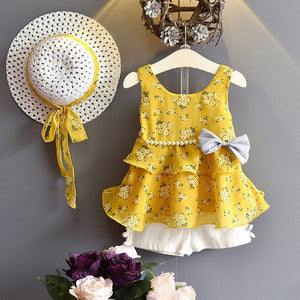 Summer Bow Pearl Chiffon Set with Hat 3pcs