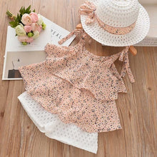 Load image into Gallery viewer, Summer Bow Pearl Chiffon Set with Hat 3pcs